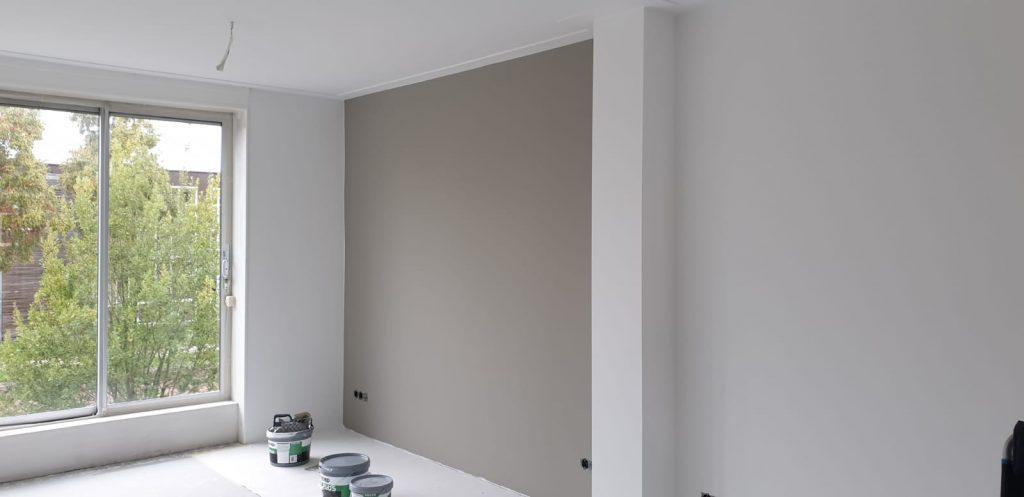 Afgerond project in Ijsselstein. Wanden en plafonds RAL9016 en Farrow & Ball Little Greene.