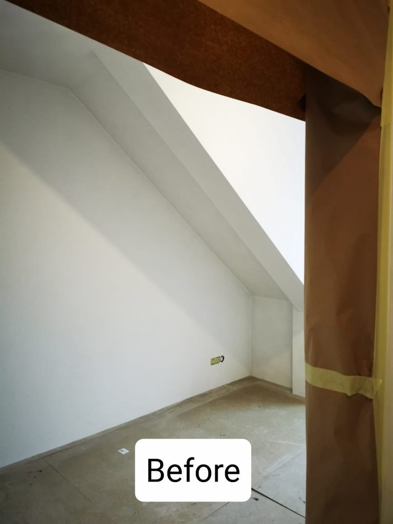 Latex spuiten van wanden en plafonds in RAL9010 in Den Haag.