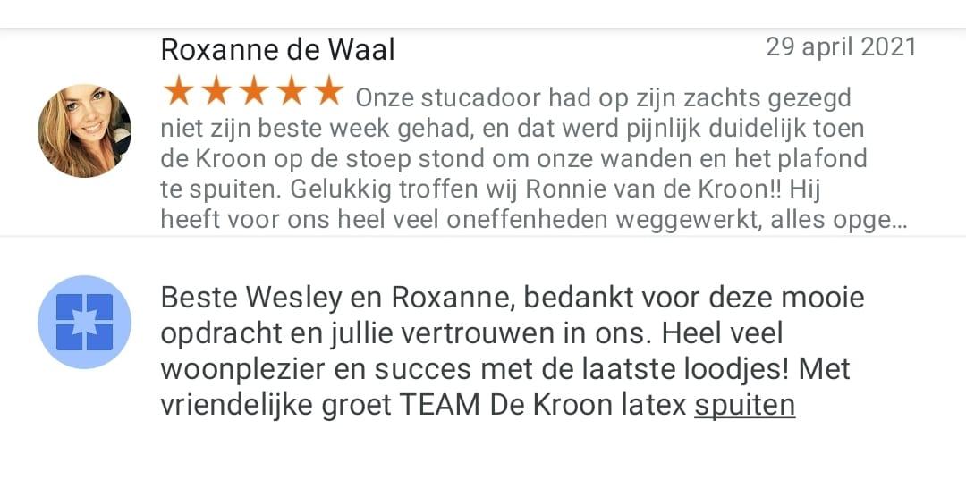 Reactie Google mevrouw de Waal uit Rhoon.